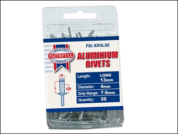 Aluminium Rivets - 4mm x 13mm Long (Pack 50)