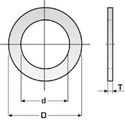 Circular saw reduction rings - 20mm outside & 16mm inside - 1.1mm thick (DART)