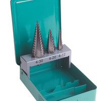 Straight Flute Step Drill Bit Set 3pc HSS (SSTFSET3)
