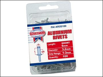 Aluminium Rivets - 3mm x 6mm Long (Pack of 100)