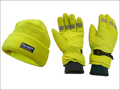 Scan Hi-Visibility Beanie Hat & Gloves Yellow - One Size