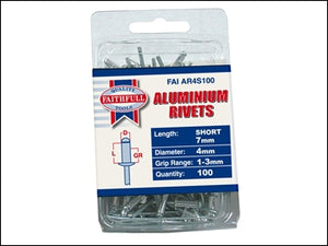Aluminium Rivets - 4mm x 7mm Short (Pack of 100)