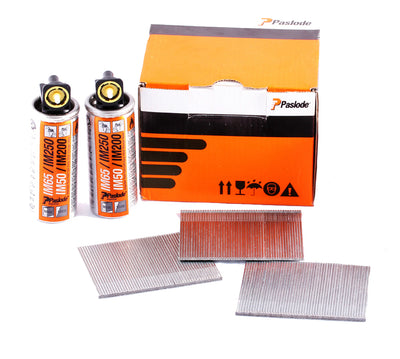 Paslode Straight Brad Nails (IM65) 25mm x 2000Pk Galvanised Incl. Fuel Cells