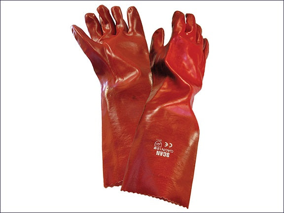 Rubber Gauntlets - Industrial PVC Red