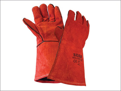 Welding Gauntlet - Red Leather