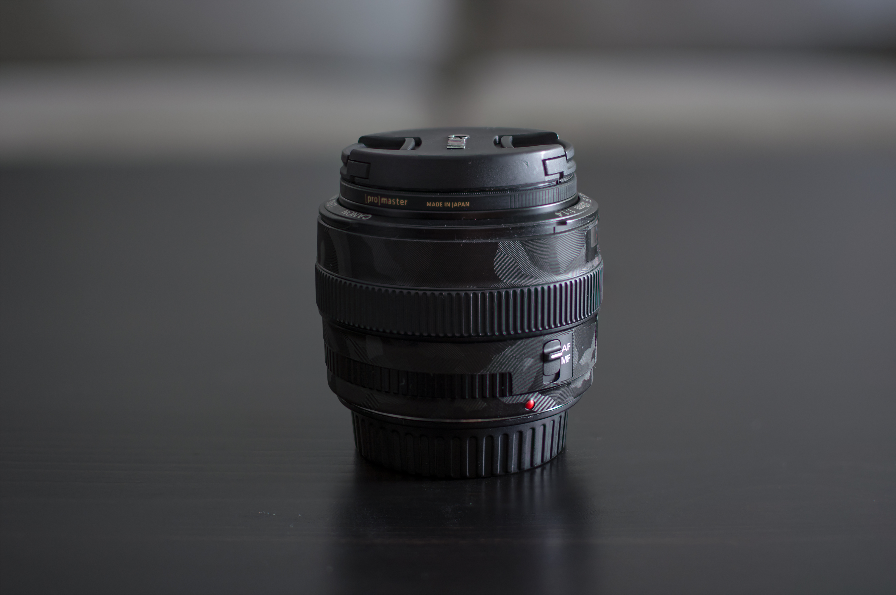 Canon 50mm f/1.4 with Shadow Black Camo Lens Guard