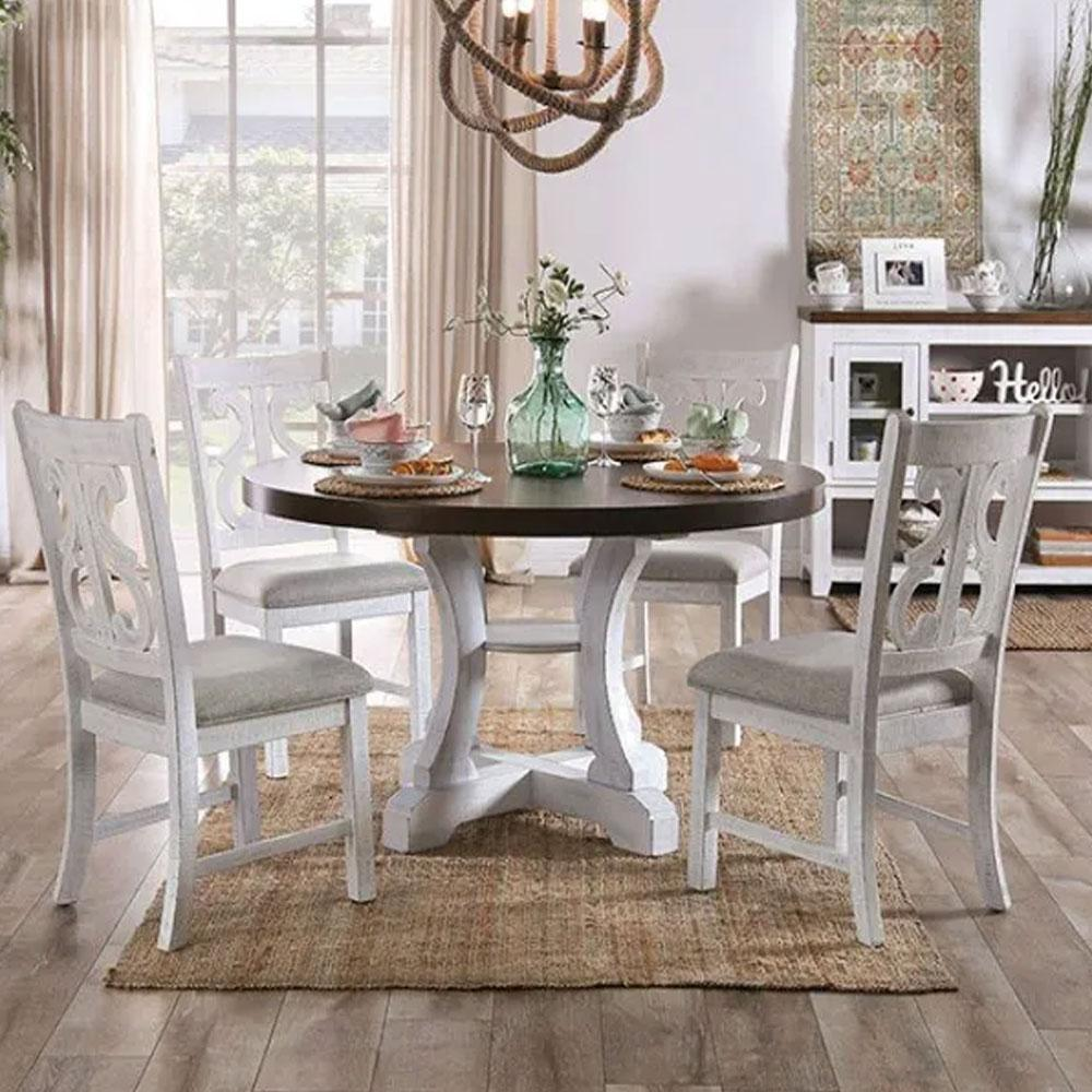 Auletta - Transitional - Distressed White/Distressed Dark Oak - Dining Table