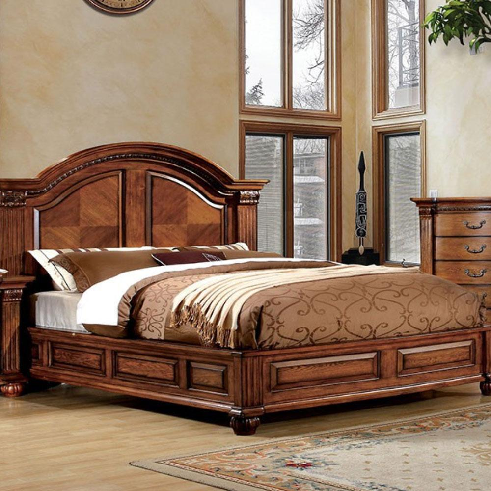 BELLAGRAND - Traditional - Antique Tobacco Oak - King - Bed Frame