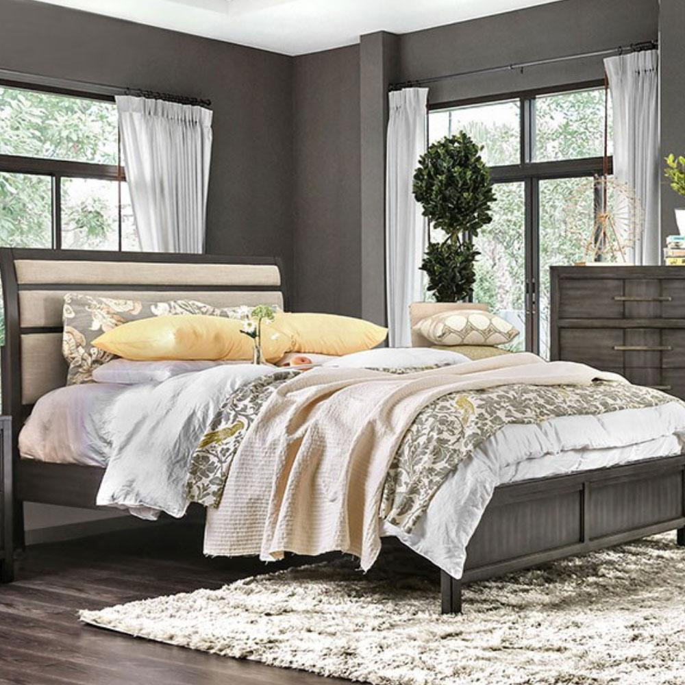 BERENICE - Transitional - Gray - King - Bed Frame
