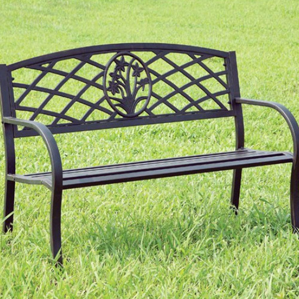 Minot Contemporary Black Patio BENCH