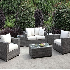 Somani Contemporary Light Gray Patio LOVE SEAT + 2 CHAIRS + 2 END TABLES + COFFEE TABLE