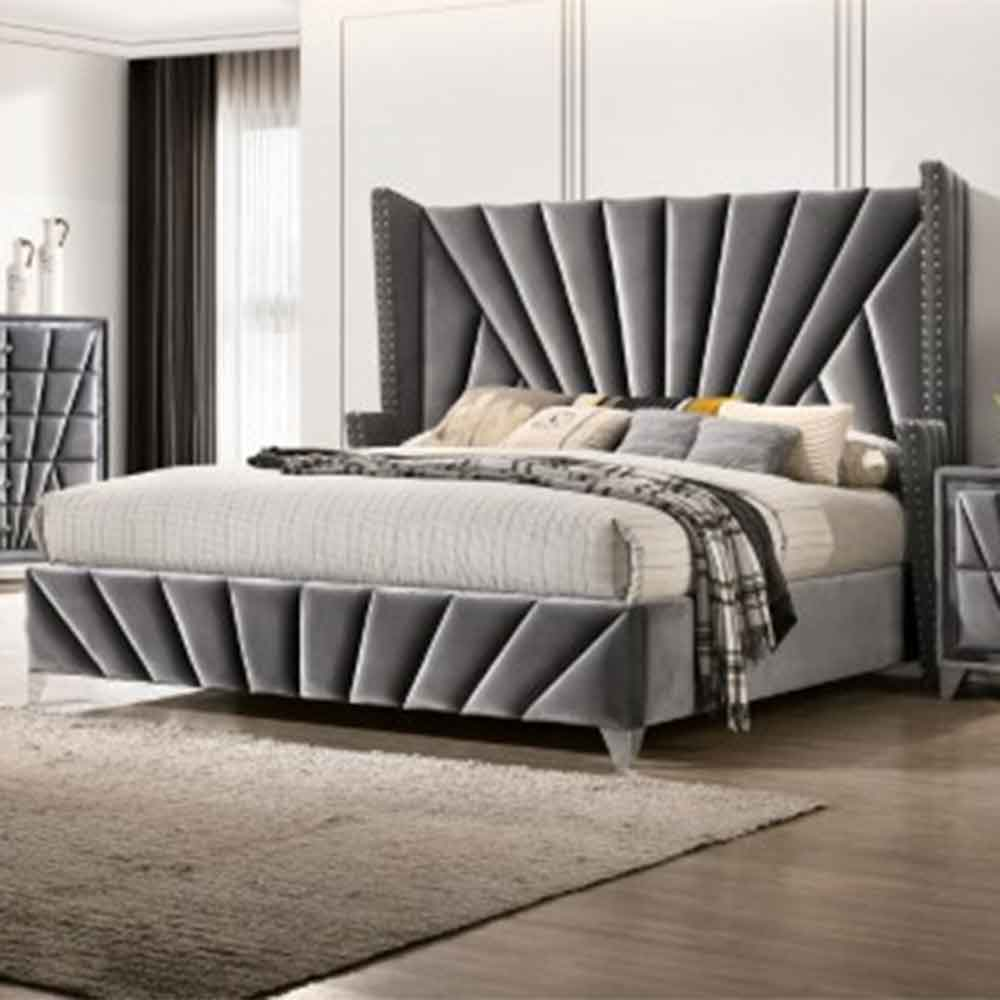 Carissa  - Transitional - Gray - King - Bed Frame