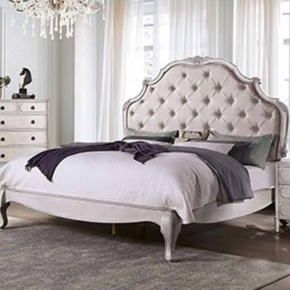 Esther - Traditional - Antique White - King - Bed Frame