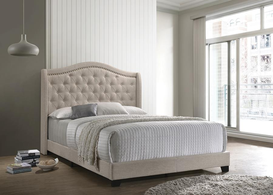 Sophia Upholstered Beige Bed