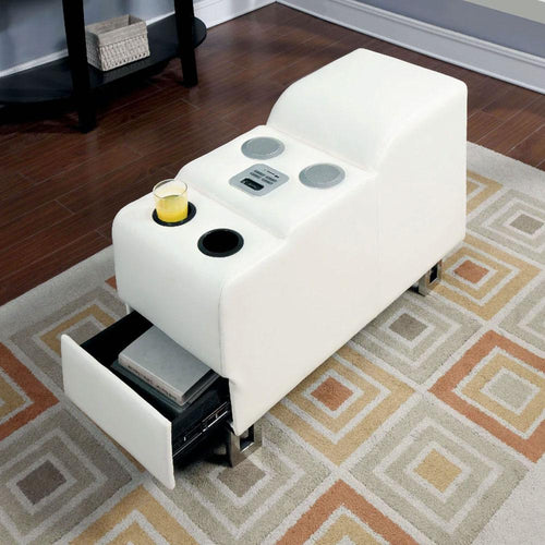 Kemi Contemporary White Living Room Speaker Console