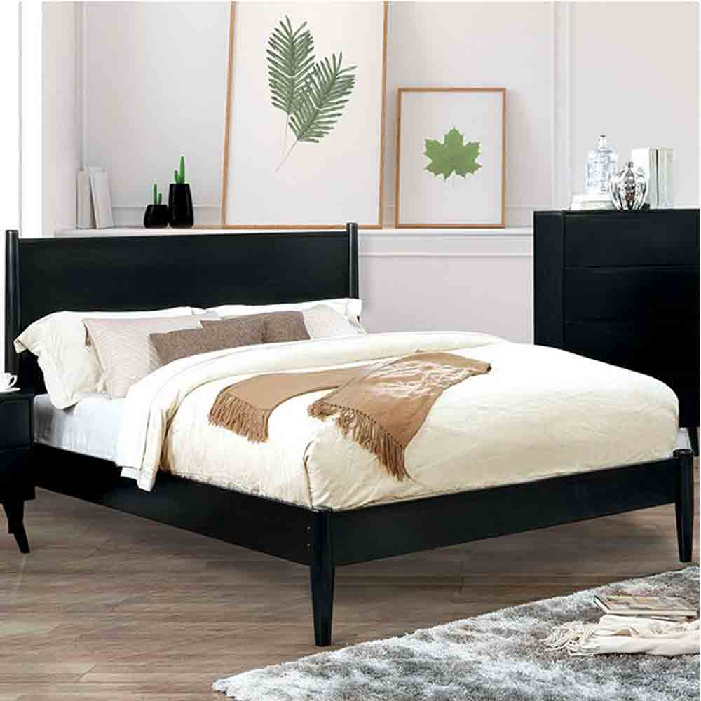 Mid-Century Elegant Black - Queen Size - Bed Frame