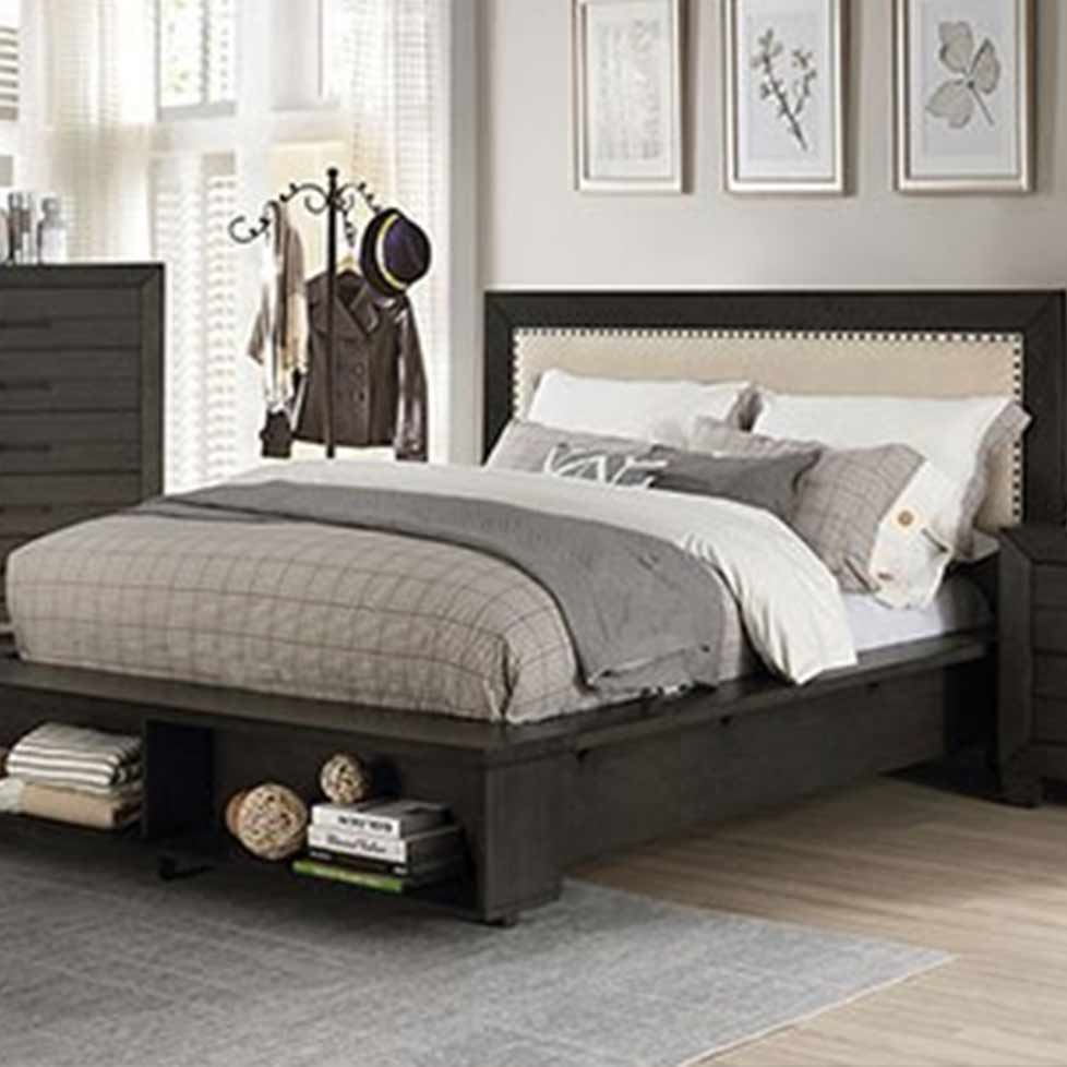 Sligo - Transitional - Dark Gray - Queen - Bed Frame