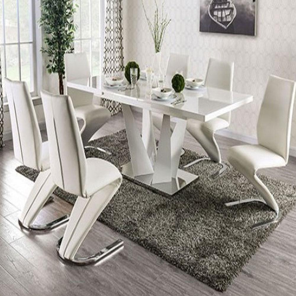 Zain - Contemporary - White/Chrome - Dining Table