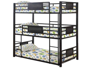 Rogen Collection Triple Bunk Bed with Built-In Ladder