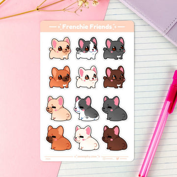 sticker sheet of french bulldogs for planners, bullet journalling/bujo, letters, and so forth