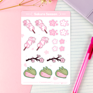 sticker sheet of different cherry blossom/sakura elementsfor planners, bullet journalling/bujo, letters, and so forth
