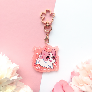 Blossom the Sakura Frenchie - Frosted Acrylic Charm