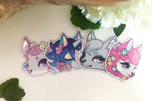 Floral Crossing Holographic Stickers