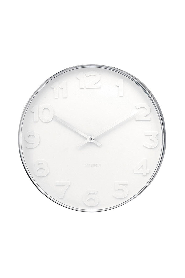 KARLSSON - MR WHITE NUMBERS CLOCK - SMALL - POLISHED STEEL FRAME / WHITE FACE - Tempted Kensington