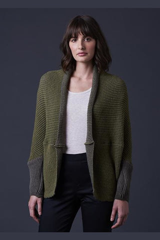 UIMI - TATIANA TWO TONE TEXTURED SHRUG - ONE SIZE - ARMY