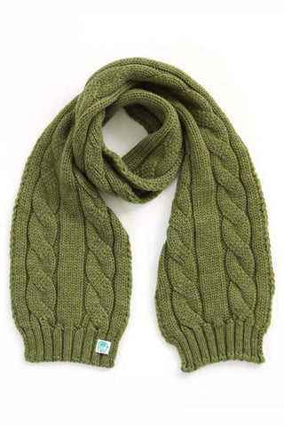 UIMI - TRINITY CHUNKY CABLE KIDS SCARF - ONE SIZE - COLOUR: FERN