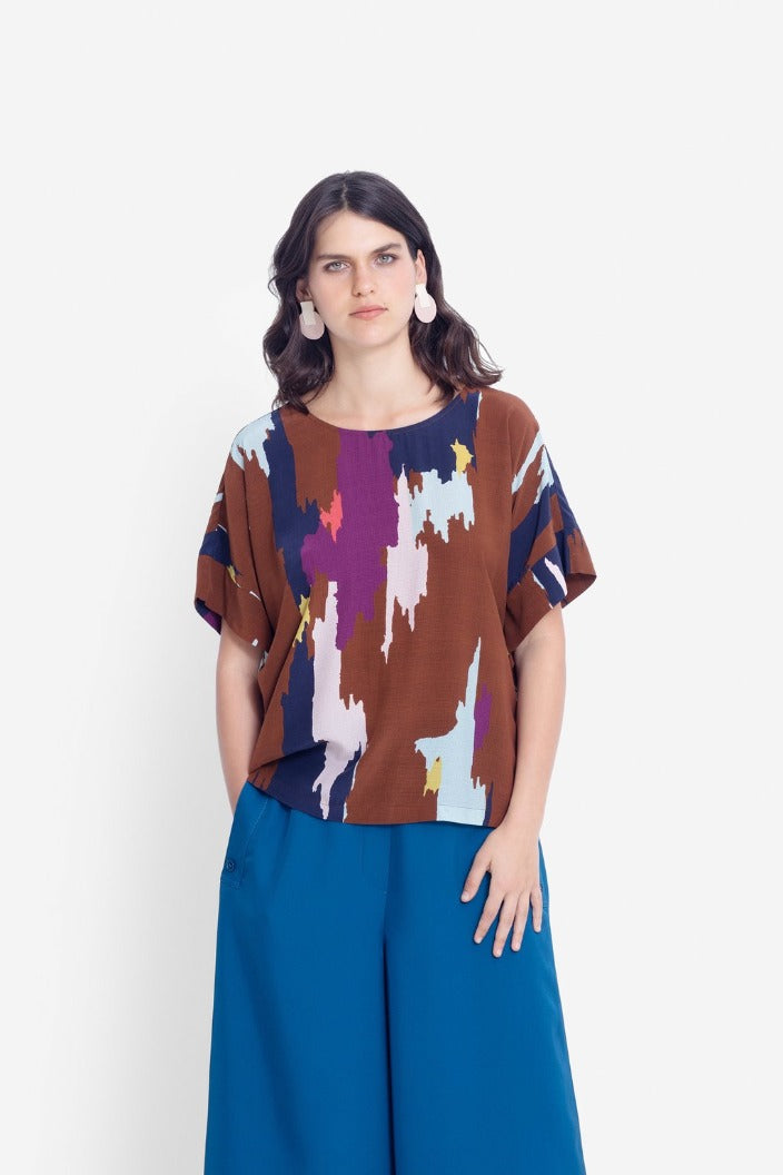 ELK THE LABEL - IKAT TOP - TAN MULTI - Tempted Kensington