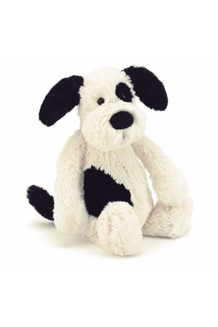 JELLYCAT - PUPPY BASHFUL - BLACK & CREAM - MEDIUM - Tempted Kensington