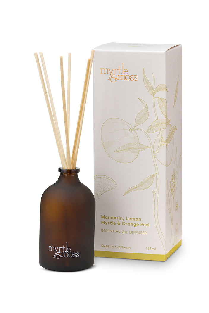 MYRTLE & MOSS - ESSENTIAL OIL DIFFUSER - MANDARIN, LEMON MYRTLE & ORANGE PEEL - 125ML - Tempted Kensington