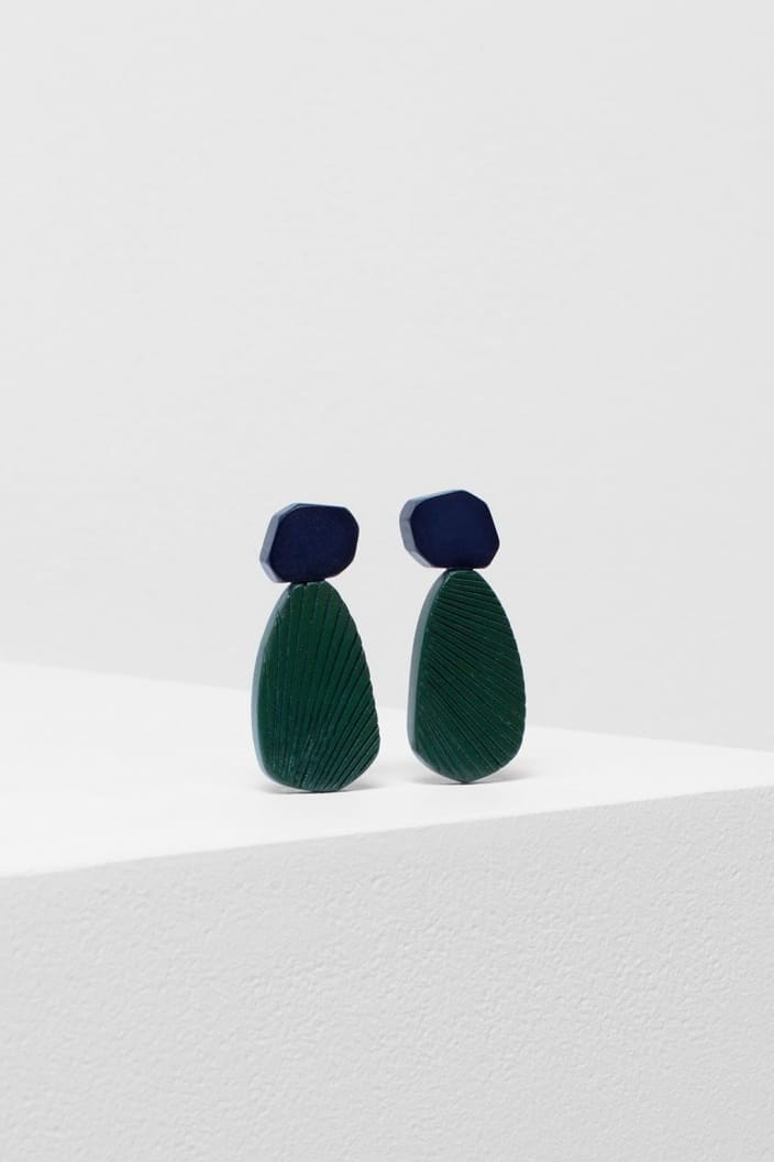 ELK THE LABEL - EDA STUD EARRING - CACTUS / NAVY - Tempted Kensington