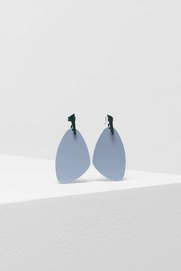 ELK THE LABEL - NELE EARRING - LIGHT GREY / GREEN - Tempted Kensington