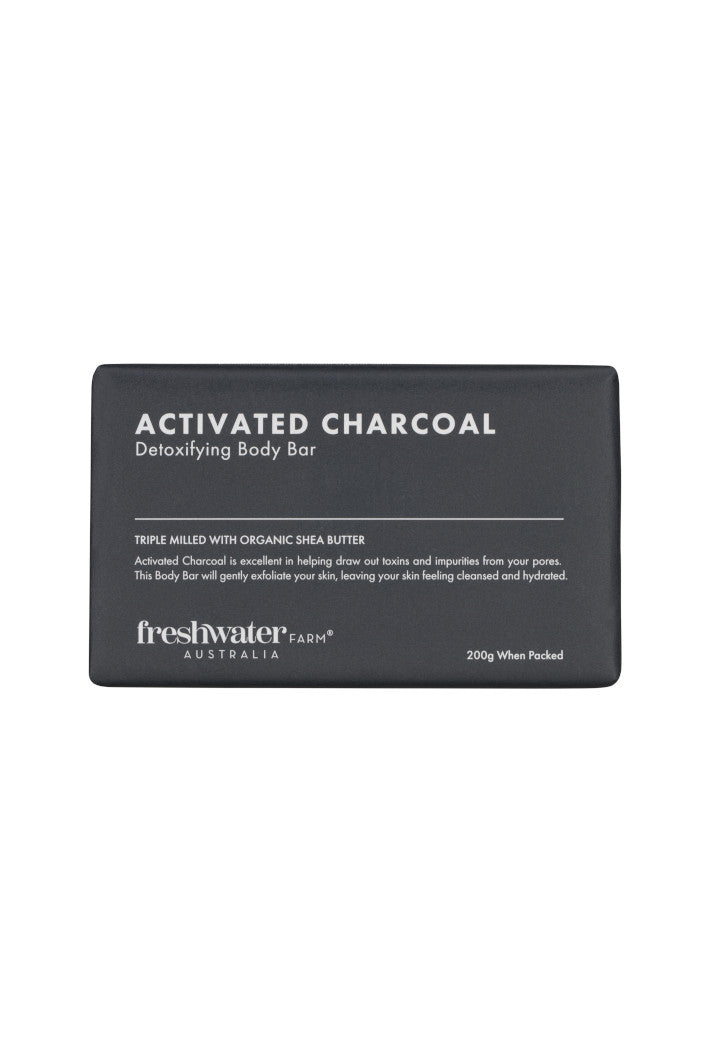 FRESHWATER FARM - ACTIVATED CHARCOAL DETOXIFYING BODY BAR SOAP - 200G - Tempted Kensington