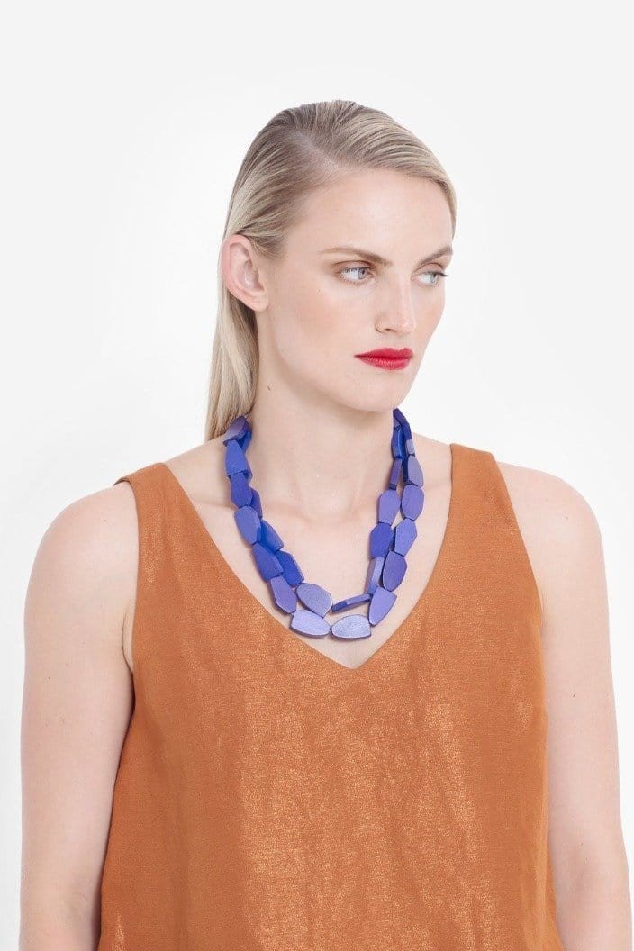 ELK THE LABEL - GRUVA 3 ROW NECKLACE - BLUE - Tempted Kensington