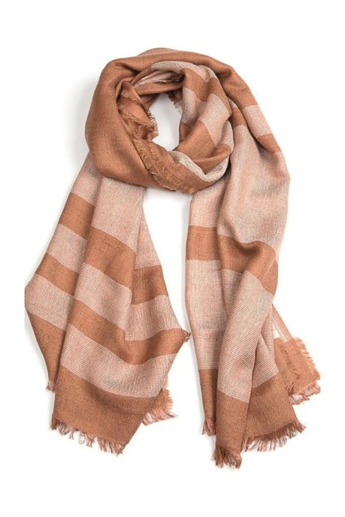 INDUS - CHECK SCARF - CHESTNUT & NATURAL - Tempted Kensington