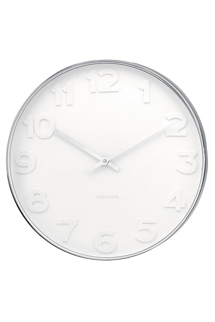 KARLSSON MR WHITE NUMBERS CLOCK - LARGE - POLISHED STEEL FRAME / WHITE FACE