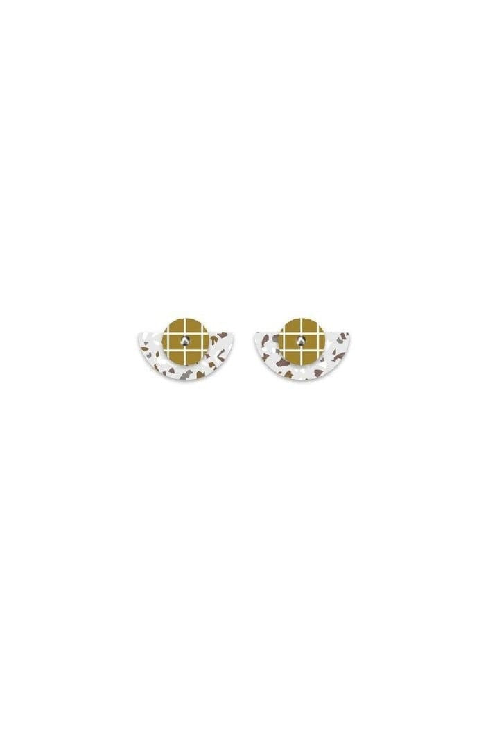 MOE MOE - NEUTRAL TONES TERRAZZO GRID LAYERED MOON STUD EARRINGS - SMALL