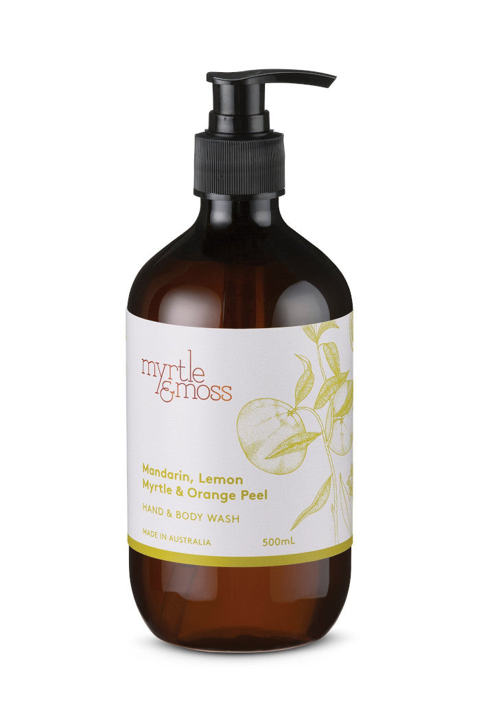 MYRTLE & MOSS - HAND & BODY WASH - MANDARIN, LEMON MYRTLE & ORANGE PEEL - 500ML