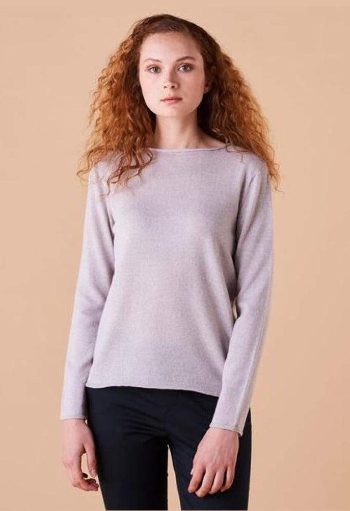 UIMI - PHOEBE CREW NECK JERSEY TOP - OYSTER - Tempted Kensington