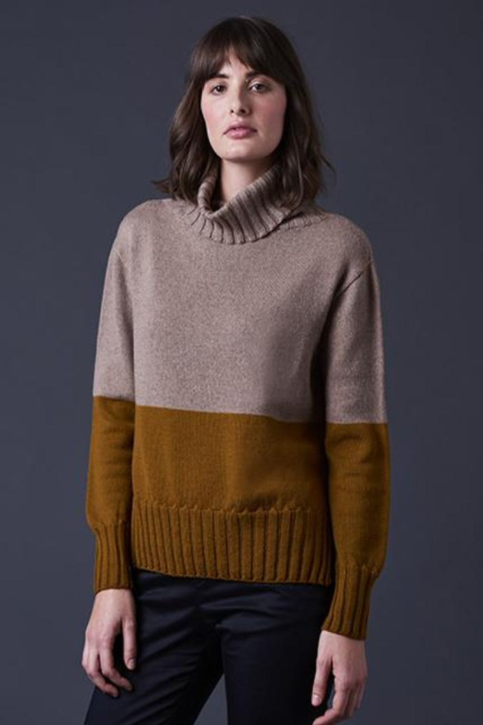 UIMI - ROXY BLOCK COLOUR ROLL NECK JUMPER