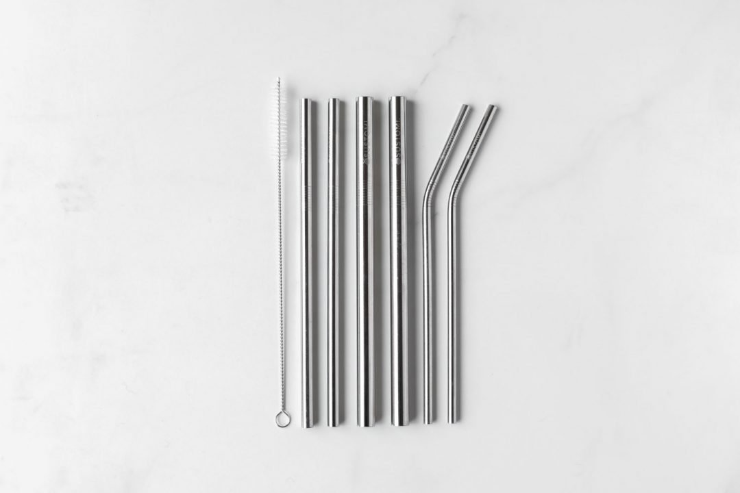 SUSTOMI - METAL STRAW 6 PACK - 2 SMOOTHIE, 2 REGULAR, 2 COCKTAIL, 1 CLEANER - Tempted Kensington