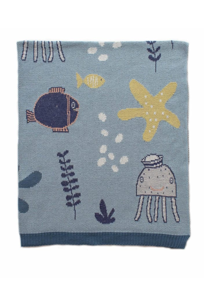 INDUS - BABY BLANKET - UNDER THE SEA - BLUE - Tempted Kensington