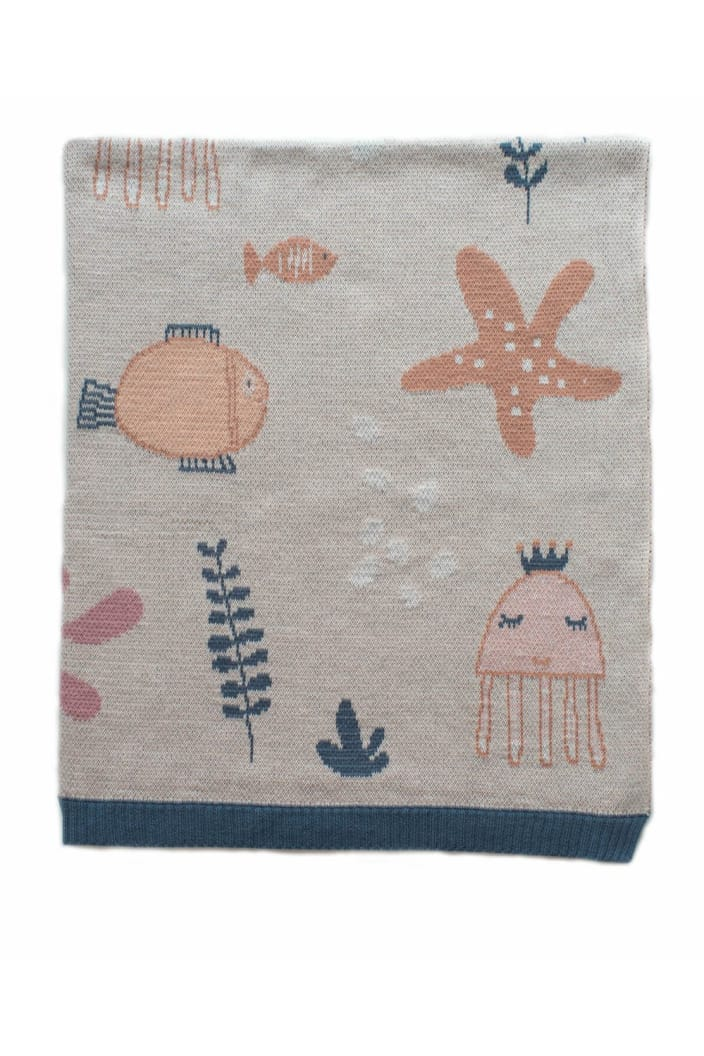 INDUS - BABY BLANKET - UNDER THE SEA - PINK - Tempted Kensington