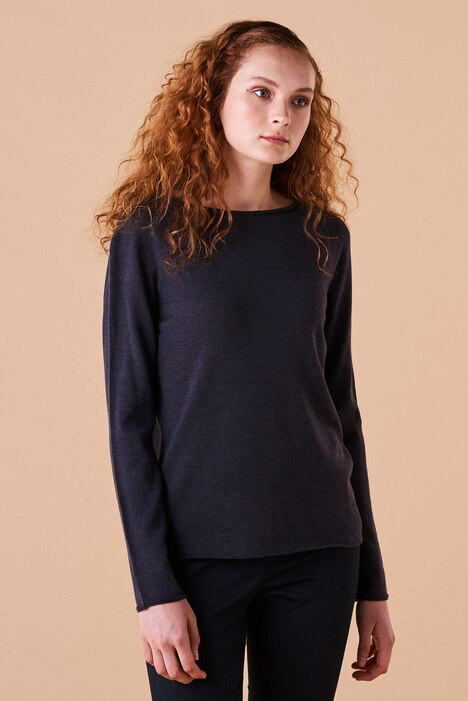 UIMI - PHOEBE CREW NECK JERSEY TOP - BLACKCURRANT - Tempted Kensington