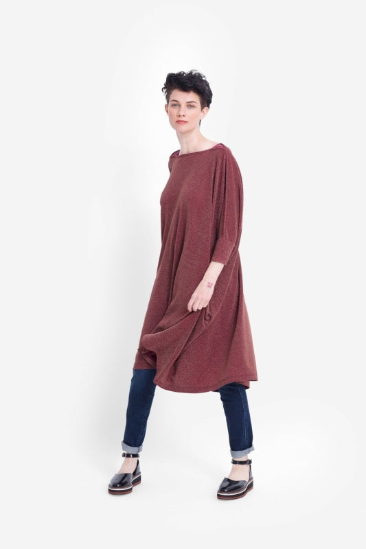 ELK THE LABEL - WIDE STRETCH DRESS - RED RUST METALLIC - Tempted Kensington