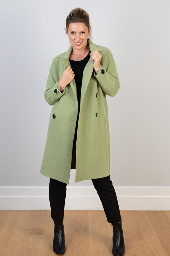 J.J - DOUBLE BREASTED COAT - SOFT GREEN - Tempted Kensington