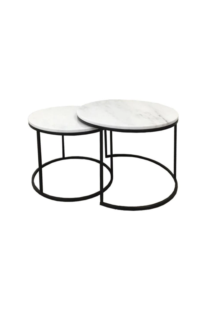 F.W - ENTERPRISE COFFEE TABLE - SET 2 - WHITE MARBLE - Tempted Kensington
